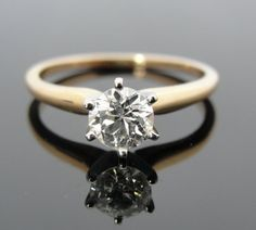 18k Gold and Platinum Solitaire Engagement Ring with Fine European Cut Diamond simple perfection