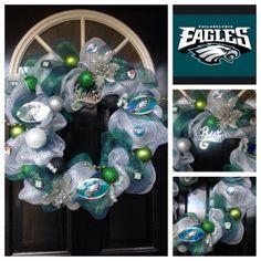 Philadelphia Eagles Wreath, NFL, Poly Mesh Wreath, Eagles
