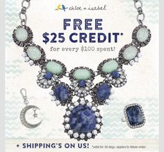 semi annual sale, jewelry, love, fashion | $25 credit for every $100 purchased! Www.chloeandisabel.com/boutique/amandarice