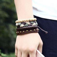 European Style Retro Diy Bracelets High Quality Unique Design Leather Bracelets For Men and women