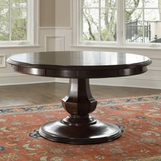 Information: Brownstone Furniture Sienna Round Dining Table Features: The Sienna Round Table by Brownstone is elegant and refined - it can be dressed up, but Round Pedestal Dining Table, Dining Table Design, Modern Dining Table, Dining Table Chairs, Dining Room Furniture, Home Furniture, Pedastal Table, Round Tables, Furniture Showroom
