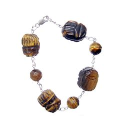 Tiger Eye Brown Engraved, 925 Sterling Silver Bracelet- Handmade - Natural Stones - Jewelry - FREE SHIPPING de ArtGemStones en Etsy