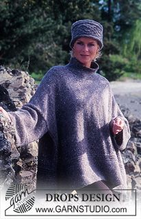 """DROPS 66-15 - Oversizes DROPS Pullover and Hat/Head band in """"Alpaca"""" and """"Kid-Silk"""". - Free pattern by DROPS Design"""