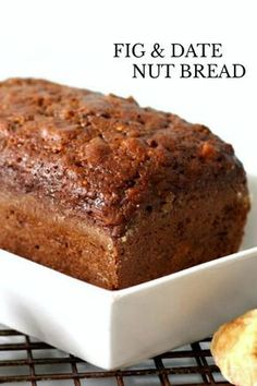 Fig amp Date Nut Bread: Brimming with fruit and nuts, Fig & Date Nut Bread packs a lot of nutrition and flavor into every bite. Great for breakfast or afternoon snack. sandwich Fig amp Date Nut Bread Nut Bread Recipe, Quick Bread Recipes, Sweet Recipes, Baking Recipes, Dessert Recipes, Cake Recipes, Breakfast Bread Recipes, Biscuit Recipe, Dessert Bread