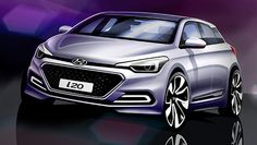 The new Hyundai has been revealed in a pair of design sketches ahead of a debut at the Paris Motor Show, showing an with a more purposeful look. Auto Hyundai, Hyundai I20 2015, Hyundai Cars, New Hyundai, Hyundai Sonata, Autos Toyota, Toyota Prius, Ste Agathe, Bike News