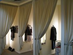 fitting rooms. Even the way the curtains are tied back gives it a more luxurious feel