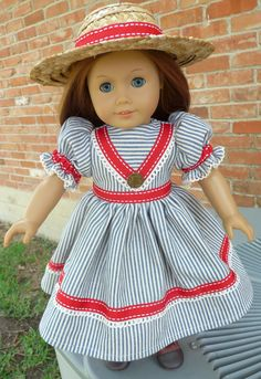 "18"" Doll Clothes Summer Picnic Dress Mid 1800's Style Historical Dress and Hat Fits American Girl Cecile, Marie Grace, Addy, Kirsten"