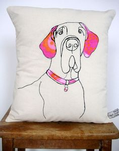 Vintage cloth used to make wonderful pillow featuring a great dane.