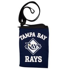 MLB Game Day Pouch - Tampa Bay Rays  http://allstarsportsfan.com/product/mlb-game-day-pouch/?attribute_pa_teamname=tampa-bay-rays  Jersey Material in official team colors and features your favorite team logo Zipper closure 20″ Drop length nylon strap