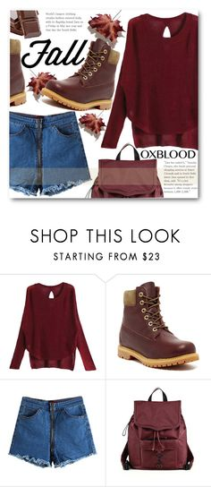 """Fall trend"" by stylemoi-offical ❤ liked on Polyvore featuring Timberland, Rebecca Minkoff, oxblood and stylemoi"