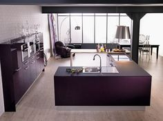 Purple is one of the most suitable colors for kitchen decoration.If you still haven't decided your kitchen color, you should definitely look at the purple kitchen. Purple Kitchen Designs, Modern Kitchen Design, Kitchen Colors, Modern Kitchen Cabinets, Kitchen Interior, Kitchen Ideas, Kitchen Ware, Open Kitchen, Kitchen Stuff