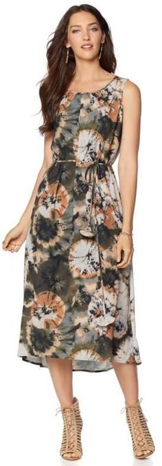 LaBellum Hillary Scott LaBellum by Hillary Scott Tie-Dye Halter Dress with Tie