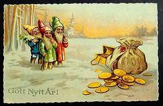 Elves w/Big Bag of Gold Coins GOTT NYTT AR! Vintage New Year Postcard