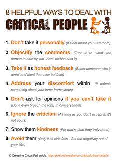 How To Deal With Critical People Manifesto #PeopleSkills #SocialSkills