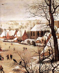 """renaissance-art: """"  Pieter Bruegel the Elder c. 1565 Winter Landscape with Skaters and a Bird Trap (detail) """""""