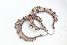 Wire wrapped copper boho hoop earrings with navy blue by SabiKrabi, $55.00