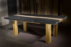 Concrete Table with Wood Inlay by TaoConcrete on Etsy