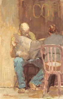 Calibey, Gregory (1959-...) Reading the paper, 2004
