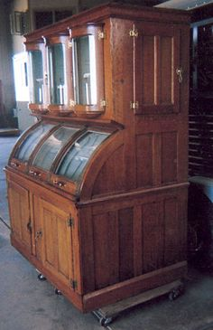 Beautiful antique refrigerator cabinet. Loved the curved front!
