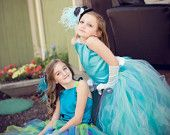 Aqua blue Pixie tutu dress .Aqua satin and white details.....Flower Girl Dress..Vintage Photography Prop