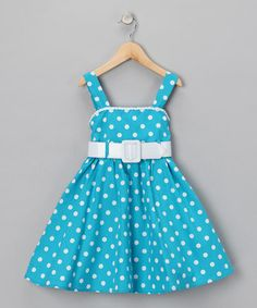 Polka Dots!      rollover to zoom | click for larger image    Zunie - Turquoise Polka Dot Dress - Girls    $21.99 original $54.00    Size  size chart  Qty  add to basket  Product Description:  When the opportunity presents itself, your pretty princess picks polka dots. This frilly frock should be just the fix. With classic colors and a matching belt, this dress's cozy fabric acts as the perfect backdrop to her favorite print.    Includes dress and belt  Shell and lining: 100% cotton…