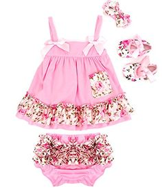 Jubileens Baby Girls 4Pcs Cute HeadbandDress UnderpantsShoes Outfits Clothes S 06 Months Style 8 >>> See this great product.