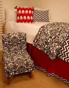 Cool modern and classy college dorm room bedding and chair