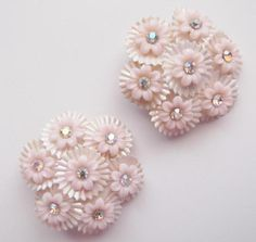 Pink 50's Plastic with Rhinestone Clip On Earrings
