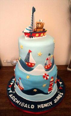 Sailing christening cake