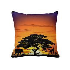 ☼Dreaming Africa!☼ #Wild #Animals on #Savannah #Sunset #Pillow > http://www.zazzle.com/wild_animals_on_savannah_sunset_pillow-189361639745859678#