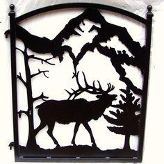 Iron Garden Gate Elk Mountain Scene Metal Art. $299.00, via Etsy.