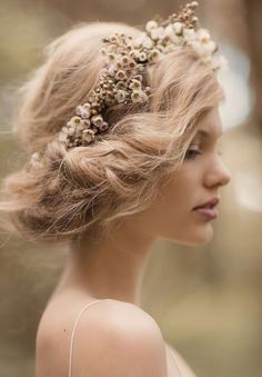 Messy-Updo-with-Floral-Crown-for-Brides