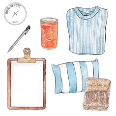 "155 Likes, 2 Comments - Good Objects Illustration (@goodobjects) on Instagram: ""Good objects - Vit C, sweaters and lists  #goodobjects #watercolor #illustration"""