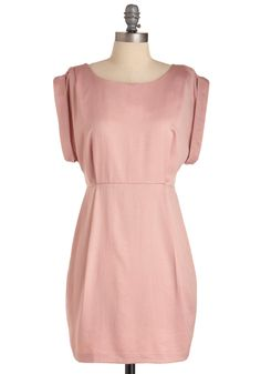 Shower with Compliments Dress - Wedding, Pink, Solid, Mini, Sheath / Shift, Short Sleeves, Spring, Short