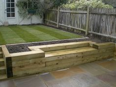 Railway sleepers « Garden Gurus, Landscape Gardening in South London Planter with built in bench Back Gardens, Small Gardens, Outdoor Gardens, Modern Gardens, Raised Planter, Raised Garden Beds, Raised Patio, Sloped Garden, Raised Beds Sleepers