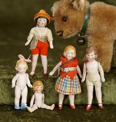 """February 14, 2018. Miniature Dolls Auction at theriaults.proxibid.com   Five 2""""-3"""" German all-bisque miniature flapper dolls by Hertwig. $200/300"""