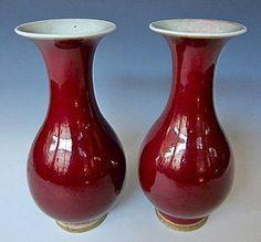 Chino sangre de buey monocromo jarrón de porcelana Par