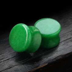 Green Jade stone plugs are available in sizes 6GA (4mm) to 1 inch (25mm).