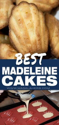 Best Madeleine Recipe easy fluffy and flavored with orange blossom water or honey. Quick french recipe from the Lorraine region! Madeleine Cake, Madeleine Recipe, Cookie Cakes, Cupcake Cakes, Cupcakes, Baking Recipes, Bar Recipes, Sweets Recipes, Cupcake Recipes