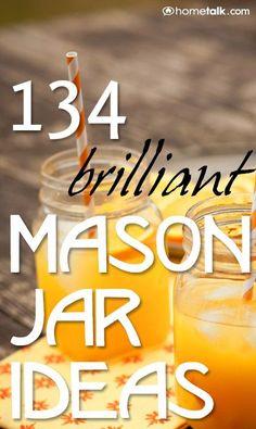 Brilliant Mason Jar Ideas for you to try! I'm addicted to mason jar pins! Mason Jar Gifts, Mason Jar Diy, Jar Crafts, Bottle Crafts, Bottles And Jars, Glass Jars, Beer Bottles, Mason Jar Projects, Jar Art