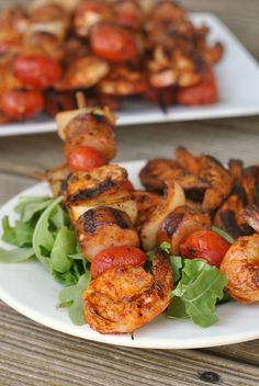 Grilled Shrimp and Sausage Skewers with Smoky Paprika Glaze More