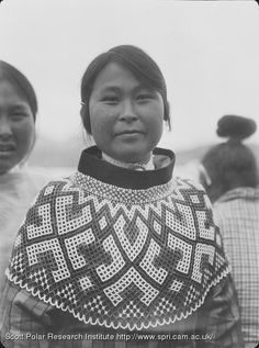 Portrait of an Inuit woman, wearing a beaded collar covering her shoulders and chest. Date: 1930 Keywords: Inuit Location: Greenland Photographer: Stephenson, Alfred Native American Women, Native American Indians, Native Americans, Inuit People, Arctic Air, Tlingit, Beaded Collar, We Are The World, First Nations