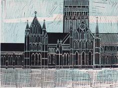 """Salisbury Cathedral (No 6)"" by Robert Tavener, c.1960 (linocut)"