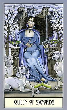"""Original watercolor and inkline depiction of """"The Queen of Swords"""" tarot card designed for an Art Nouveau deck. / I designed this piece as part of a proposal for an all-female tarot card deck to be depicted in an art nouveau style. I also wanted the women to have different ethnicities depending on suit and for the deck to combine astrological (zodiac signs) and wiccan (elements, Four Directions, seasons) components into each card in a meaningful way. / I envision Swords as an Air su..."""