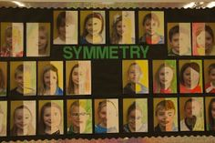 4th grade half photo half face portraits on symmetry