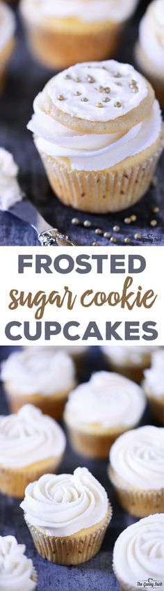 This recipe for Frosted Sugar Cookie Cupcakes has a vanilla cupcake on the bottom with vanilla buttercream frosting and a frosted sugar cookie on top. #sponsored