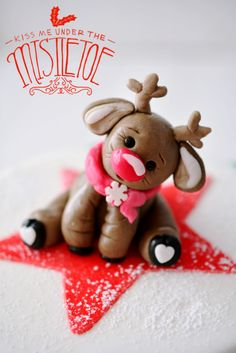 a Christmas cake in the classic red white green design and reindeer Lars as . a Christmas cake in the classic red and green design and reindeer Lars as a cake topper, the cake for the bas Christmas Cupcakes Decoration, Christmas Topper, Polymer Clay Christmas, Christmas Ornament Crafts, Clay Ornaments, Christmas Design, Christmas Crafts, Diy Air Dry Clay, Teddy Bear Cakes