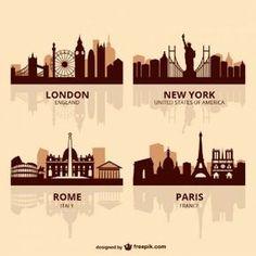 World capitals skyline vector Horizon Paris, Ligne D Horizon, Skyline Silhouette, Silhouette Vector, York England, Photos Hd, City Illustration, World Cities, Tour Eiffel