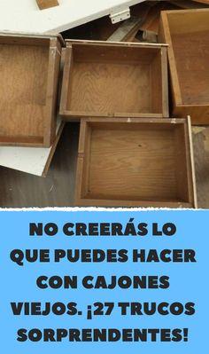 No creerás lo que puedes hacer con cajones viejos. Diy Furniture Table, Repurposed Furniture, Furniture Makeover, Furniture Projects, Pool Diy, Old Drawers, Cardboard Crafts, Craft Storage, Ikea Hack
