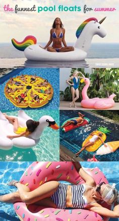 11 Fun Pool Floats. Great idea for a pool party - unicorn, donut, pizza, flamingo, swan rafts and more!